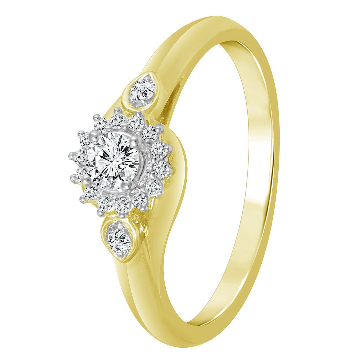 9ct Yellow Gold 1/5ct Diamond Flower Halo Solitaire Ring - Product number 4323807