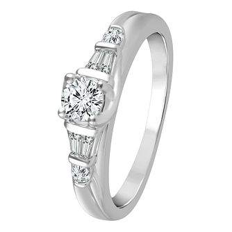 9ct White Gold 2/5ct Diamond Solitaire Ring - Product number 4324072