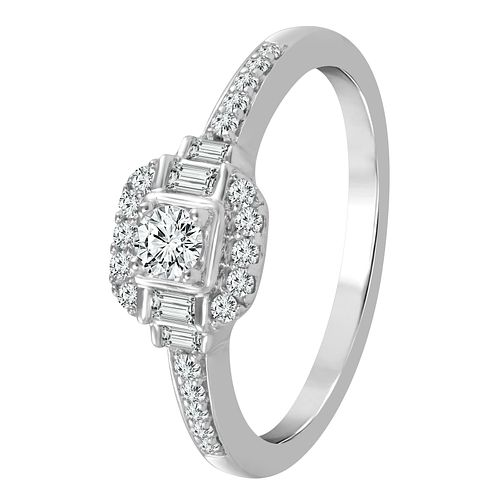 9ct White Gold 1/3ct Diamond Cushion Shaped Ring - Product number 4325273