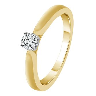 9ct Yellow Gold 1/10ct Diamond Solitaire Ring - Product number 4326849