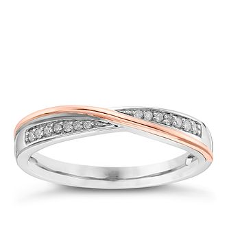 18ct White Gold and Rose Gold Diamond Crossover Ring - Product number 4328531
