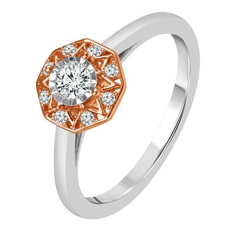 9ct White & Rose Gold 1/5ct Diamond Halo Ring - Product number 4331826