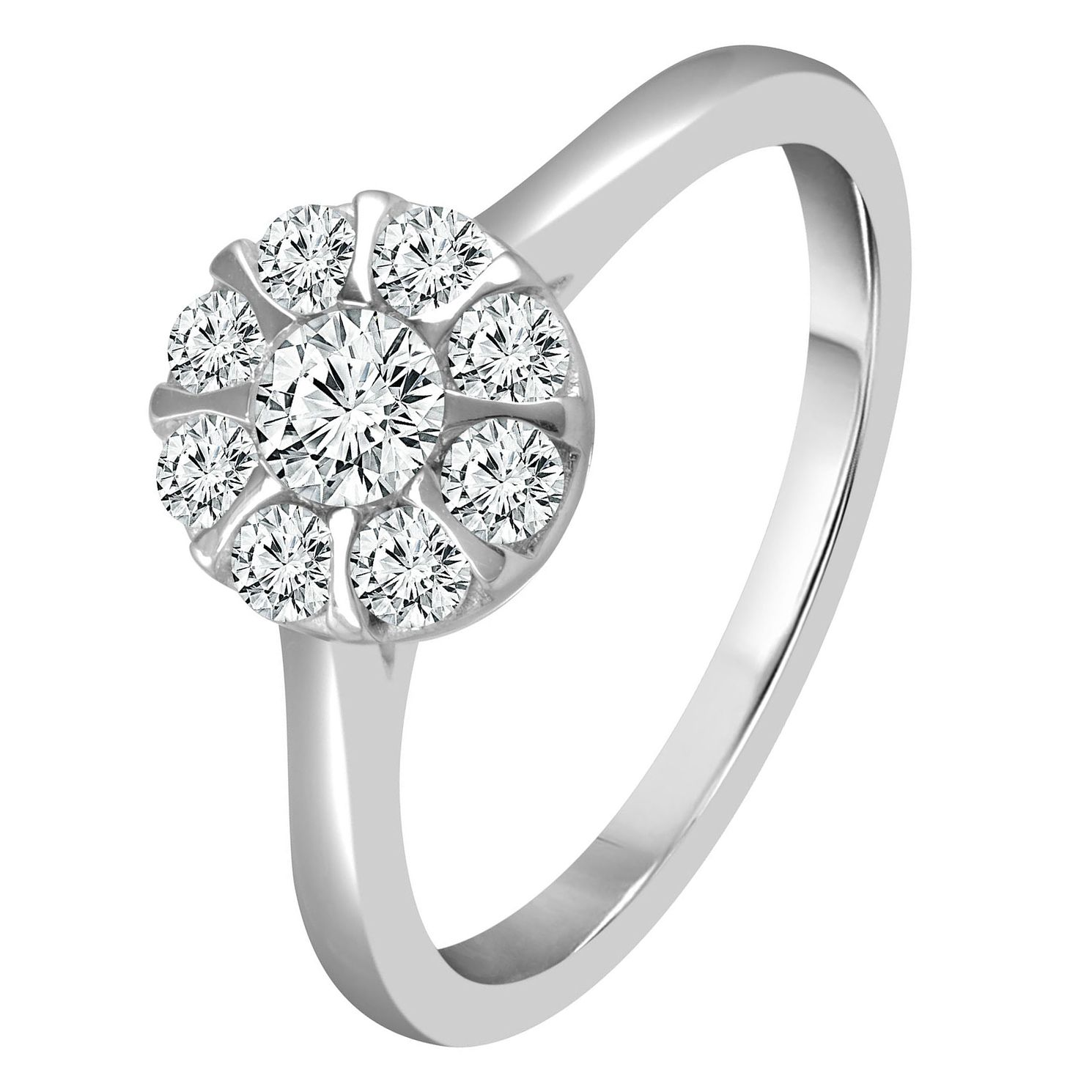 9ct White Gold 1/2ct Diamond Round Halo Ring - Product number 4332016