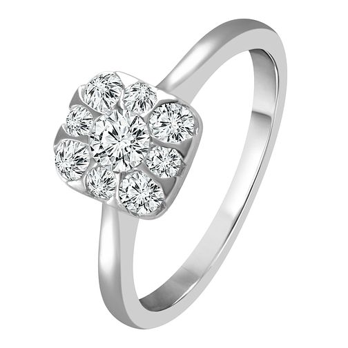 9ct White Gold 1/2ct Diamond Cushion Halo Ring - Product number 4332962