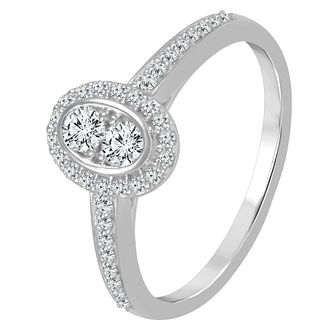 9ct White Gold 1/3ct Diamond Oval Cluster Ring - Product number 4335406