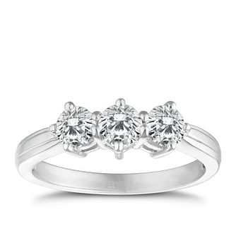 18ct White Gold 1ct Total Diamond Three Stone Ring - Product number 4337182