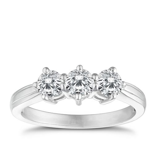 18ct white gold 1ct diamond three stone ring - Product number 4337182