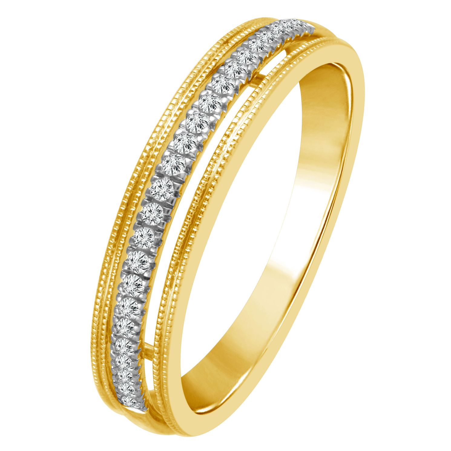 9ct Yellow Gold 1/10ct Diamond Milgrain Detail Eternity Ring - Product number 4339541