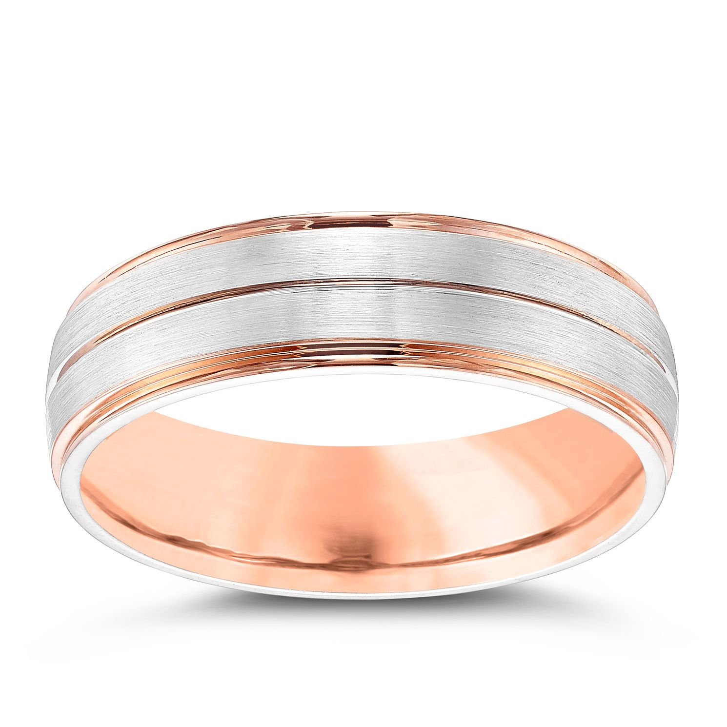 Palladium & 9ct Rose Gold 6mm Ring - Product number 4340507