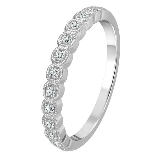 9ct White Gold 1/10ct Diamond Square Detail Eternity Ring - Product number 4340515