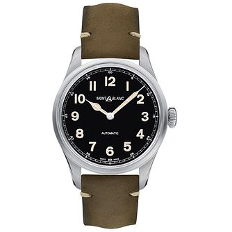 Montblanc 1858 Men's Green Leather Strap Watch - Product number 4344669
