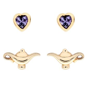 Disney Aladdin Children's Gold Plated Stud Earrings Set - Product number 4346556