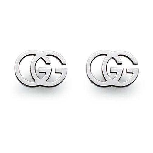 cab216a6b0c Gucci 18ct white gold logo earrings YBD094074001 - Ernest Jones