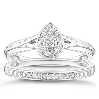 Perfect Fit 9ct White Gold 0.12ct Diamond Pear Bridal Set - Product number 4347323