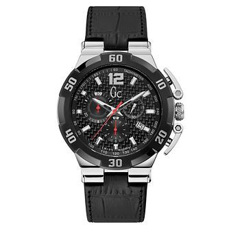 Gc Structura Diver Men's Black Leather Strap Watch - Product number 4347420