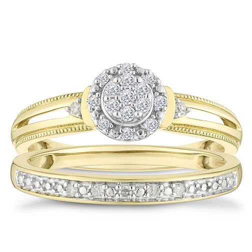 9ct Yellow Gold 0.12ct Diamond Round Shaped Bridal Set - Product number 4348028