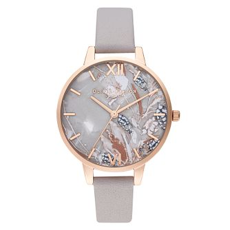 Olivia Burton Abstract Florals Grey Leather Strap Watch - Product number 4351363