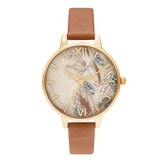 Olivia Burton Abstract Florals Tan Leather Strap Watch - Product number 4351371