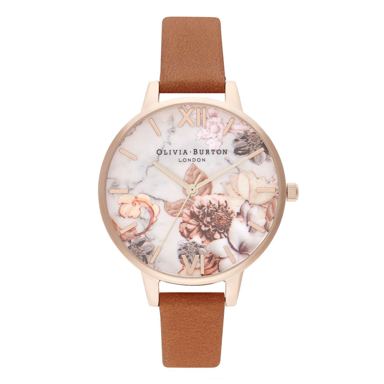 Olivia Burton Marble Floral Tan Leather Strap Watch - Product number 4351398