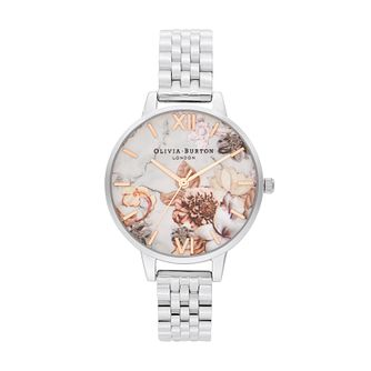 Olivia Burton Marble Floral Stainless Steel Bracelet Watch - Product number 4351428