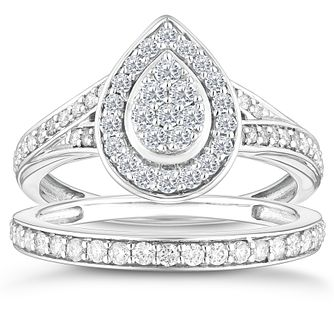 9ct White Gold 2/3ct Diamond Pear Shaped Bridal Set - Product number 4352181