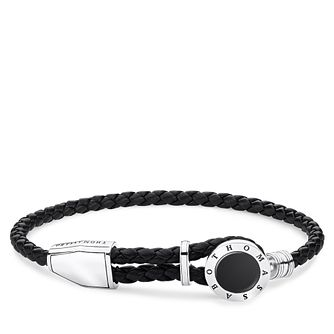 Thomas Sabo Men's Black Leather Onyx Disc Bracelet - Product number 4353196
