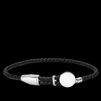 Thomas Sabo Men's Black Leather  925 Silver Disc Bracelet - Product number 4353218
