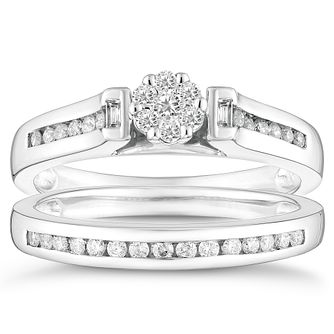 Platinum 1/3ct Diamond Round Shaped Bridal Set - Product number 4354400