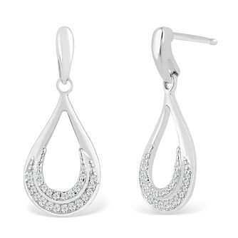 Silver 1/10ct Diamond Pear Drop Earrings - Product number 4355547