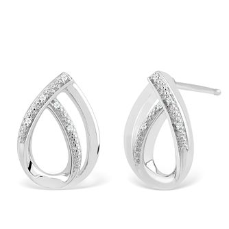 Silver Diamond Open Pear Stud Earrings - Product number 4355555
