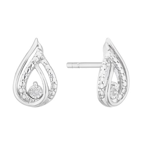 9ct White Gold Diamond Pear Stud Earrings - Product number 4355563