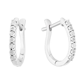 Silver Diamond Illusion Hoop Earrings - Product number 4355601