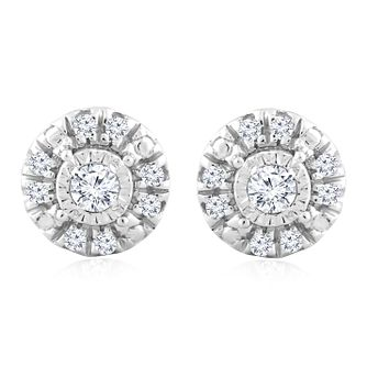 Silver Diamond Round Solitaire Halo Stud Earrings - Product number 4355679