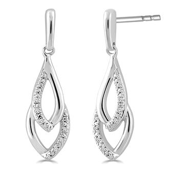 Silver Diamond Drop Earrings - Product number 4355695
