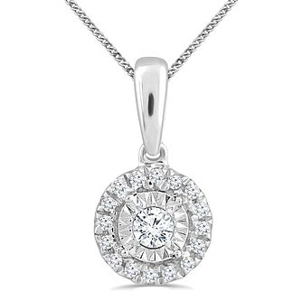 Silver Diamond Round Solitaire Halo Pendant - Product number 4355709