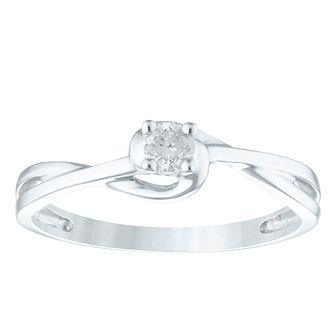 9ct White Gold 1/10ct Diamond Ring - Product number 4356233