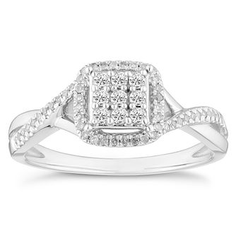 Sterling Silver 0.20ct Total Diamond Cushion Cluster Ring - Product number 4357272