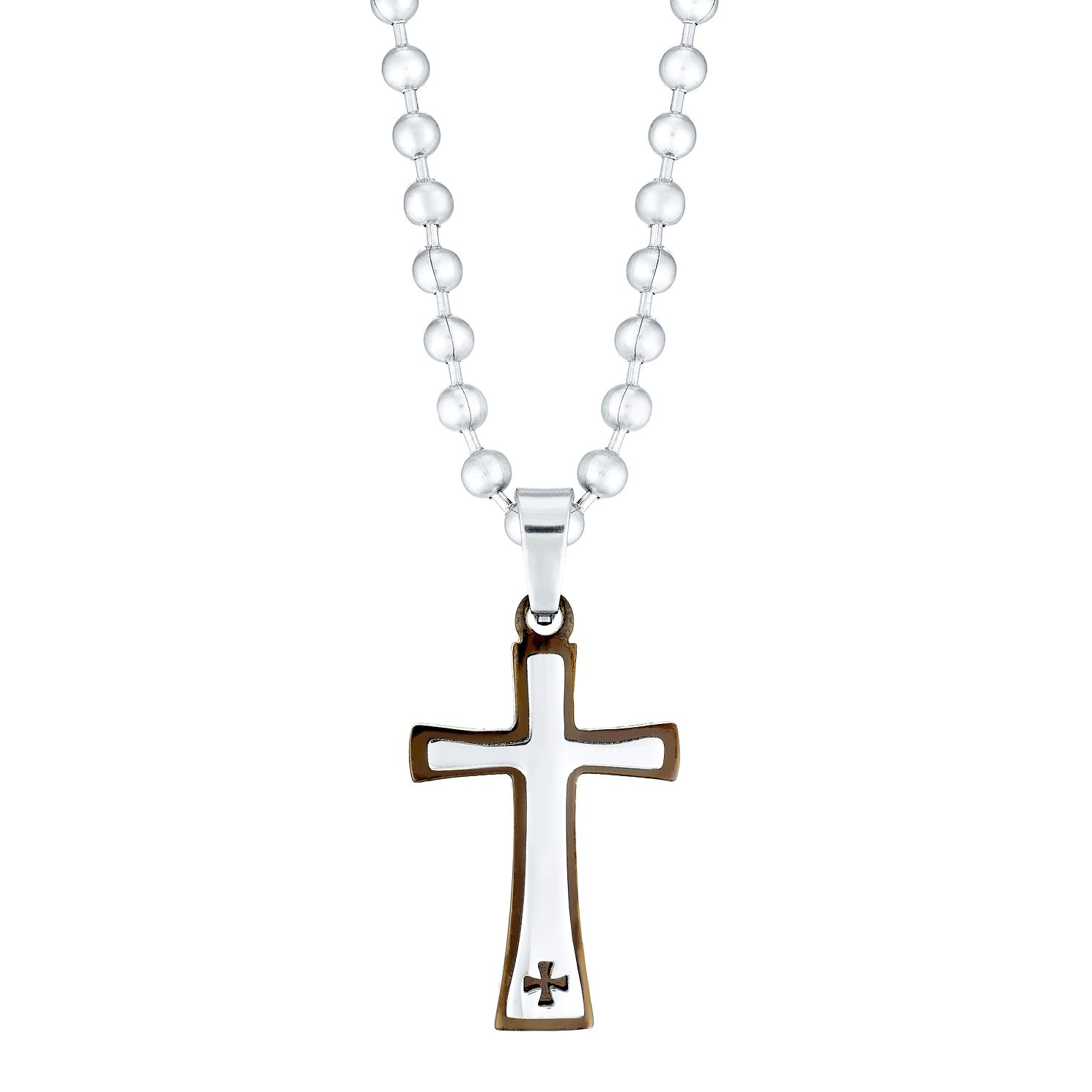 Stainless Steel Cross Pendant With Ball Chain - Product number 4358422