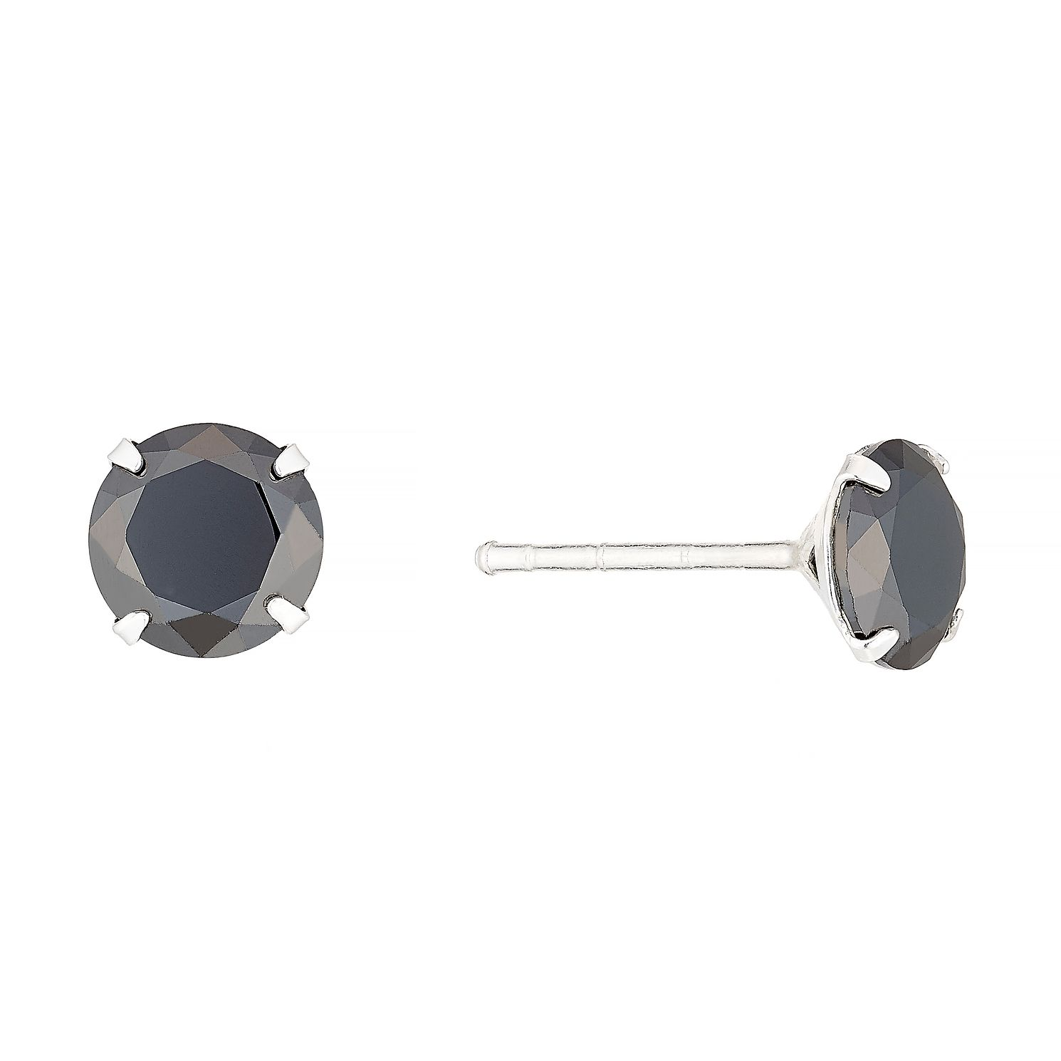 Sterling Silver Black Cubic Zirconia Stud Earrings - Product number 4358589