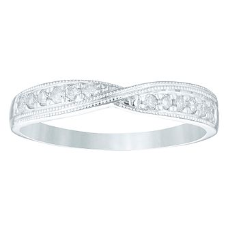 9ct White Gold 0.15ct Diamond Crossover Eternity Ring - Product number 4362578