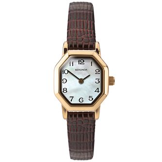 Sekonda Hexagon Ladies' Brown Leather Strap Watch - Product number 4365712