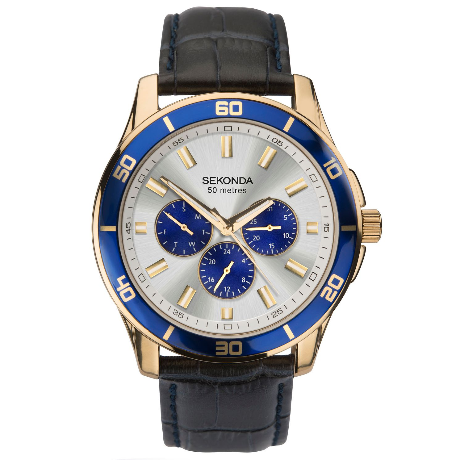 Sekonda Men's Multifunction Blue Leather Strap Watch - Product number 4365739