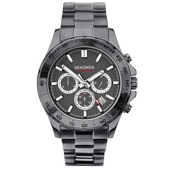 Sekonda Men's Dual-Time Grey IP Bracelet Watch - Product number 4365755