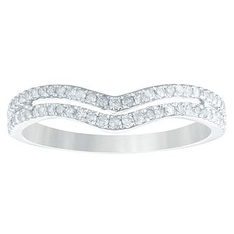 9ct White Gold 1/4ct Diamond Double Row Shaped Ring - Product number 4367979