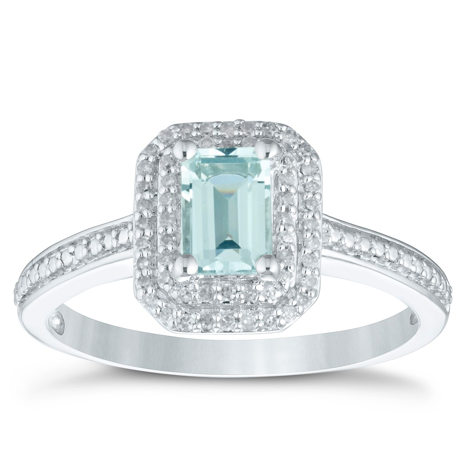 Sterling Silver Aquamarine & Diamond Emerald-Shaped Ring - Product number 4370791