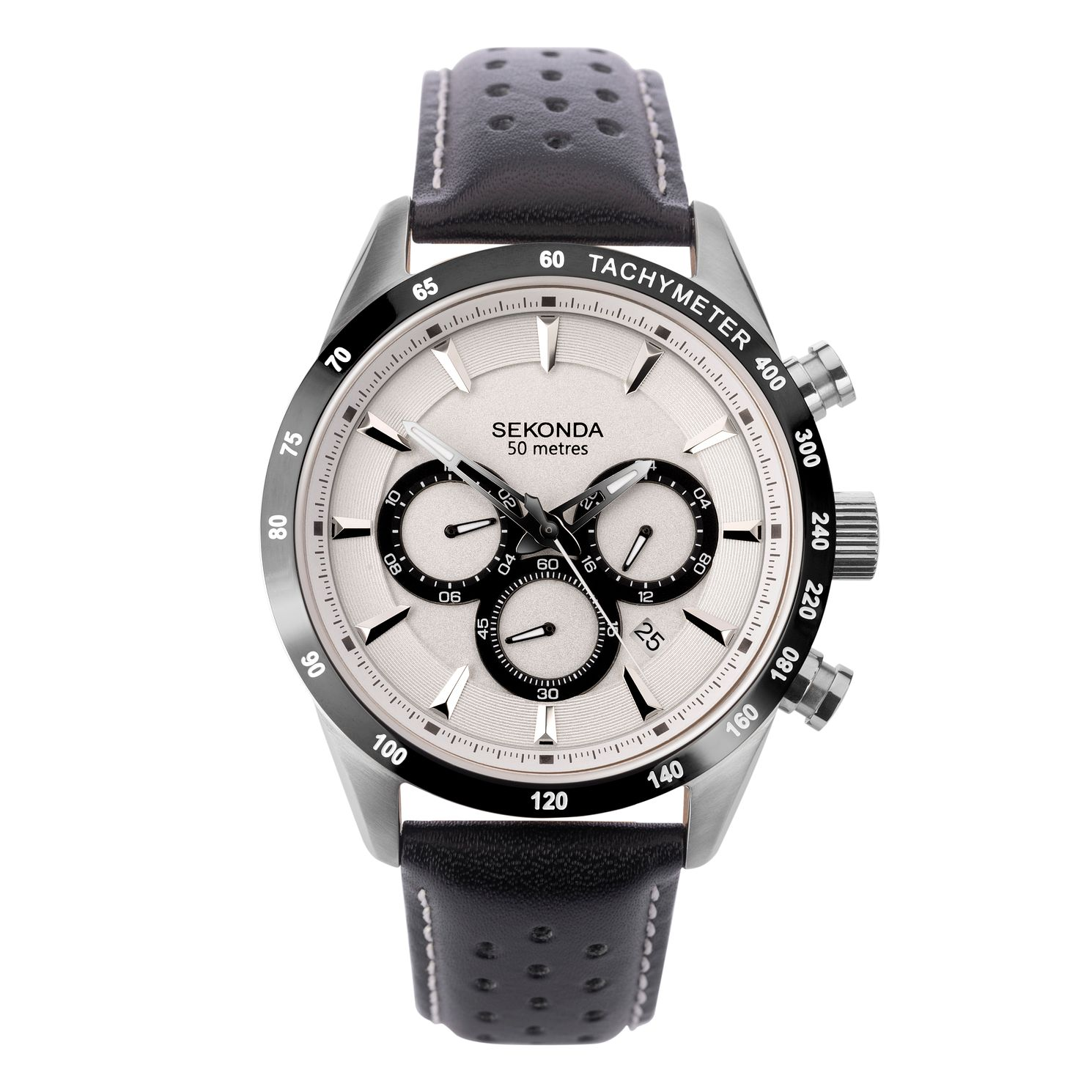 Sekonda Men's Black Leather Strap Watch - Product number 4371542