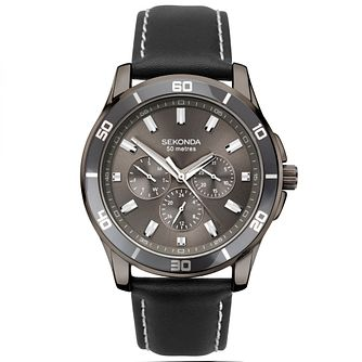 Sekonda Men's Black Leather Strap Watch - Product number 4371550