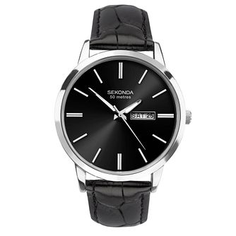 Sekonda Men's Black Leather Strap Watch - Product number 4371569