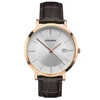 Sekonda Men's Brown Leather Strap Watch - Product number 4371682