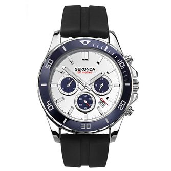 Sekonda Men's Dual-Time Black Rubber Strap Watch - Product number 4371690